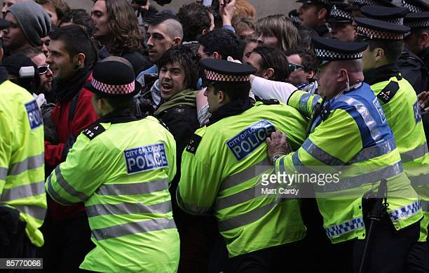 Protesters clash with police in Princes St in London's financial district as global leaders attend the G20 Summit on April 2 2009 in London England...