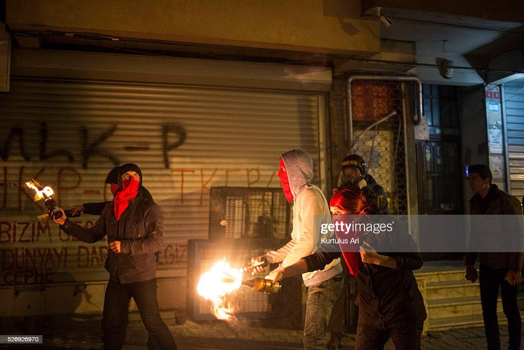 Protesters clash with police in the Gazi neighborhood during a May Day demonstration on May 1, 2016 in Istanbul, Turkey. Turkish police used tear gas and water cannons to disperse protesters throughout the day in various neighborhoods across Istanbul.