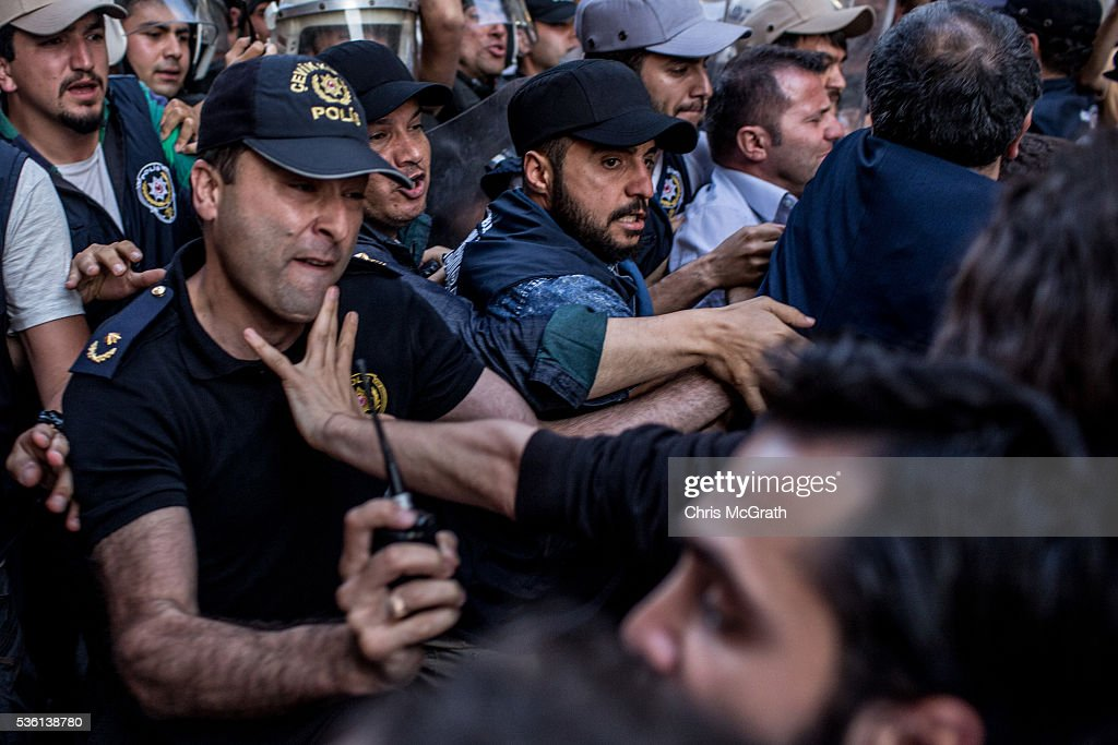 Protesters clash with police while trying to march to Gezi Park on the third anniversary of the Gezi Park protests on May 31, 2016 in Istanbul, Turkey. The protests began on May 28, 2013 to contest the planned urban development of Gezi Park, however larger protests started after police evicted protesters from the park sparking weeks of civil unrest.