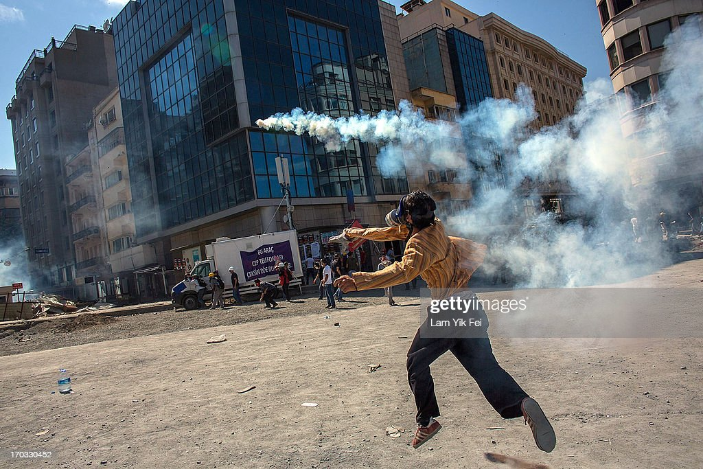 Protesters clash with riot police during a demonstration near Taksim Square on June 11, 2013 in Istanbul, Turkey. Istanbul has seen protests rage on for days, with two protesters and one police officer killed. What began as a protest over the fate of Taksim Gezi Park, has turned, with the heavy-handed response by police, into a protest over what is being seen as Prime Minister Recep Tayyip Erdogan's increasingly authoritarian agenda.