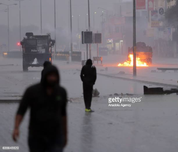 Protesters clash with security forces during a demonstration to mark 6th Bahrain uprising anniversary in Sitra Island of Bahrain on February 16 2017