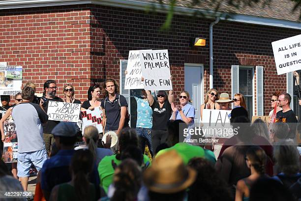Protesters condemn the alleged poaching of Cecil the lion in the parking lot of hunter Dr Walter Palmer's River Bluff Dental Clinic on July 29 2015...