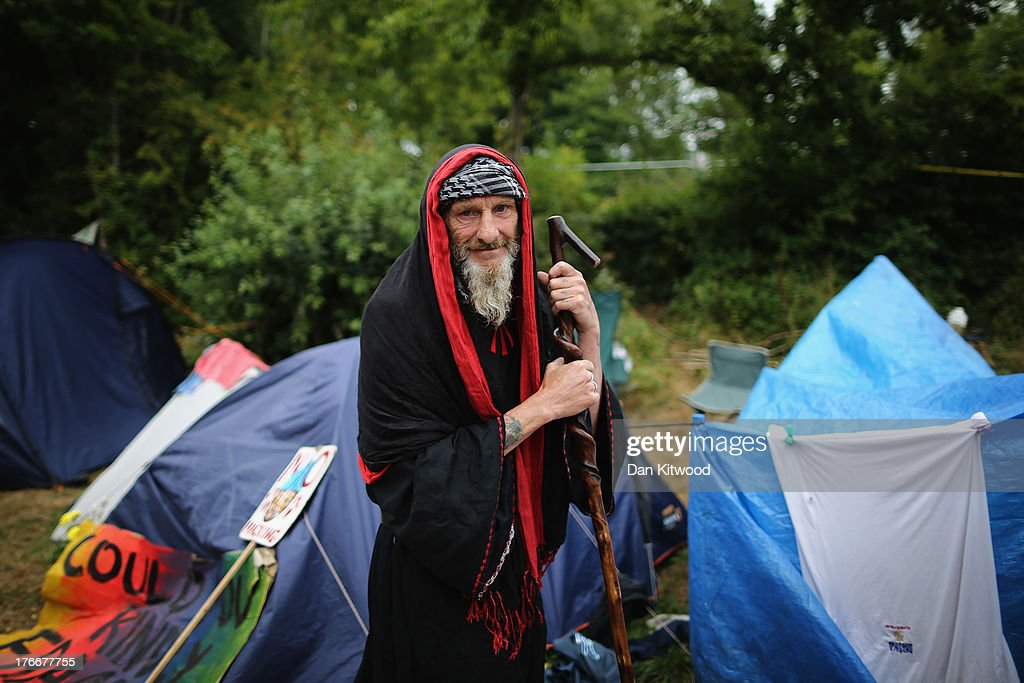 Protesters continue to arrive at the entrance gate of a drill site operated by Cuadrilla Resources Ltd on August 17 2013 in Balcombe West Sussex...