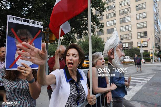 Protesters critical of the Iranian government demonstrate outside of the Council on Foreign Relations as Iranian Foreign Minister Javad Zarif...