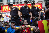Protesters demanding higher wages and unionization for fast food workers block traffic near Times Square on September 4 2014 in New York City...