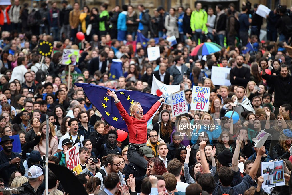 Protesters demonstrate against the EU referendum result outside the Houses of Parliament on June 28, 2016 in London, England. Up to 50,000 people were expected before the event was cancelled due to safety concerns. In the early evening a crowd still convereged on the square to vent their anti-Brexit feelings, before the protest moved to the Houses of Parliament.