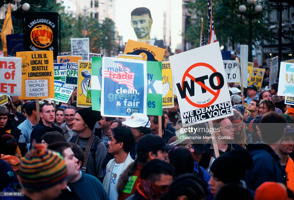 Protesters demonstrate against the World Trade Organization gathering