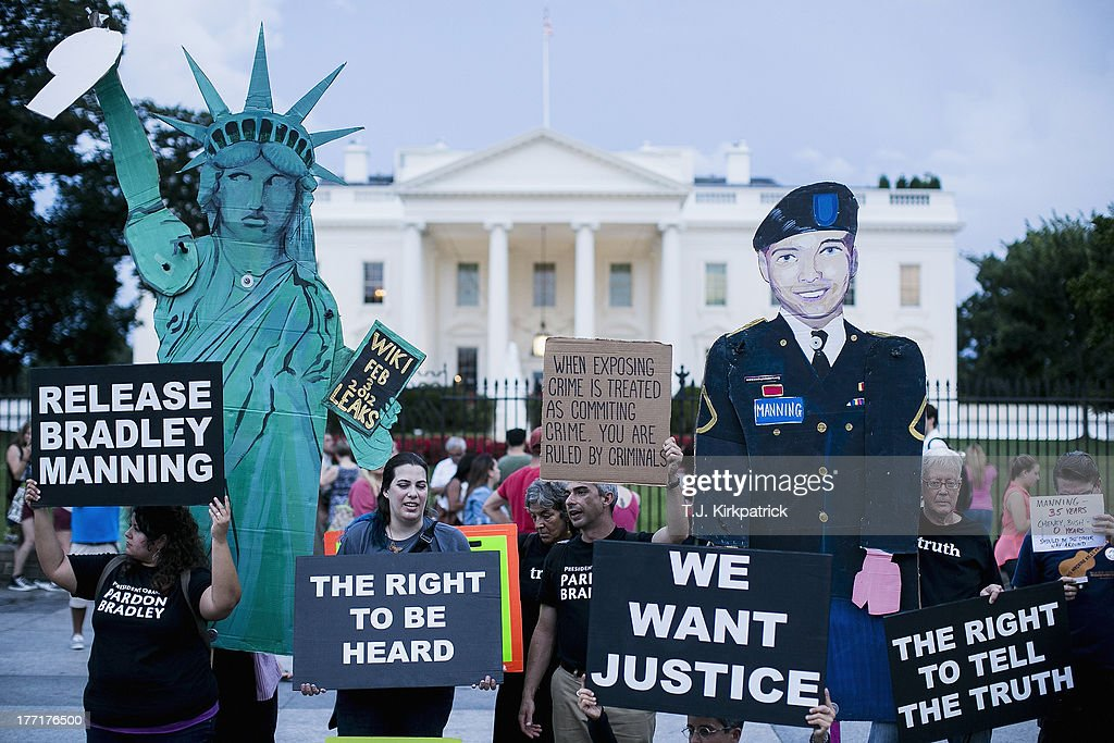 Protesters demonstrate in support of Bradley Manning on August 21, 2013 in front of the White House in Washington, DC. Manning was sentenced to 35 years in prison for leaking hundreds of thousands of classified documents to the anti-secrecy group WikiLeaks.