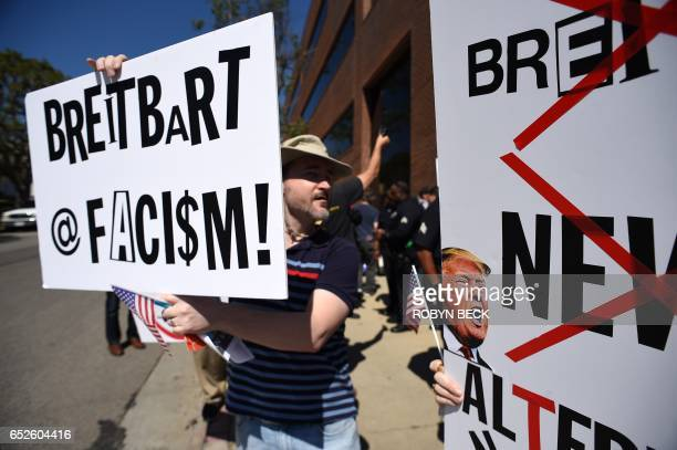 Protesters demonstrate on the street outside what they say is the offices of Breitbart News formerly run by Trump adminstration chief strategist...