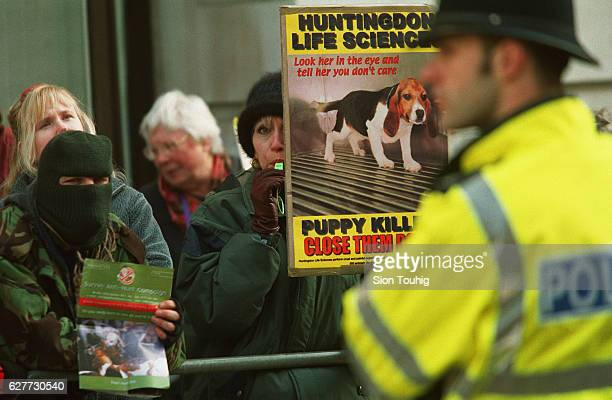 Protesters demonstrate outside Stephens Inc the US company that recently bought the controversial Huntingdon Life Sciences vivisection lab