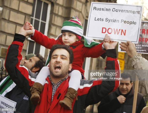 Protesters demonstrate outside the Russian Consulate in Edinburgh over the Russian veto of UN action against the Assad regime in Syria
