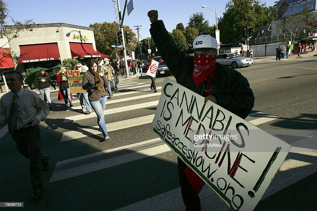 Protesters demonstrate the day after Drug Enforcement Administration (DEA) raids shut down 11 medical marijuana clinics around Los Angeles County on January 18, 2007 in West Hollywood, California. Federal authorities do not recognize the California law passed by voters in 1996 known as Proposition 215 that allows some people to grow and smoke the normally illegal herb for medicinal purposes. The raids come in the wake of last week?s vote by the Los Angeles Police Commission to support a moratorium on new marijuana outlets and Police Chief William Bratton's pledge to work with federal authorities to prosecute businesses in violation of the federal prohibition. Raids outside of West Hollywood occurred in the San Fernando Valley, Hollywood, and Venice, California.