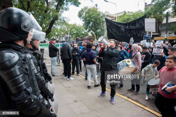 Protesters during a demonstration calling for justice for the murder against Agustin Curbelo and Nazareno Vargas August 1st in Merlo Buenos Aires...