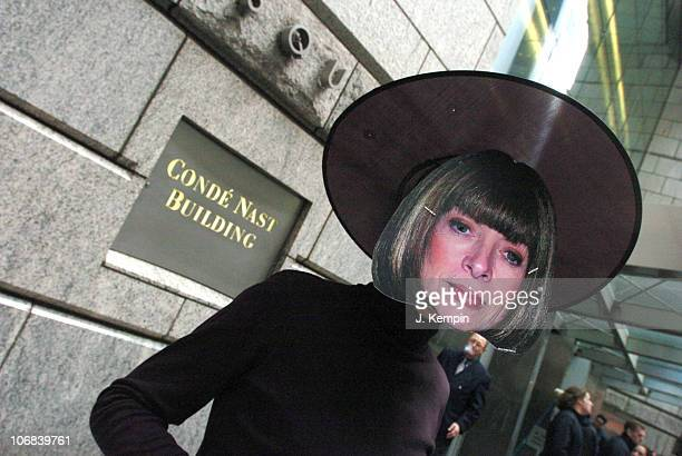 Protesters during PETA Haunts Anna Wintour at Halloween Fur Protest in New York City October 28 2005 at Conde Nast Building in New York City New York...