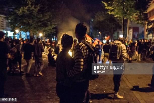 Protesters erect burning barricades in front of the Rote Flora leftwing centre after the 'Welcome to Hell' protest march on July 6 2017 in Hamburg...