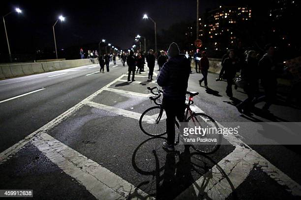 Protesters exit the West Side Highway December 3 2014 in New York Protests began after a Grand Jury decided to not indict officer Daniel Pantaleo...