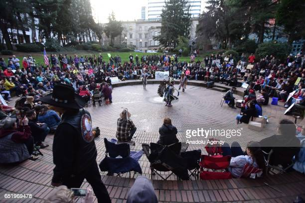 Protesters fill Terry Shrunk Plaza during a show of solidarity with the 'Native Nations Rise' march on Washington DC against the construction of the...