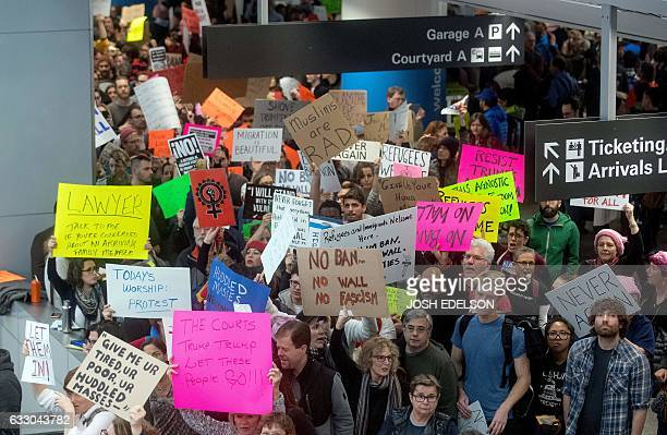 Protesters fill the international terminal at San Francisco International Airport in San Francisco California on January 29 2017 US President Donald...