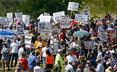 Protesters filter into the crowd of Trump supporters during a campaign rally at Fountain Park on March 19 2016 in Fountain Hills Arizona Trumps visit...