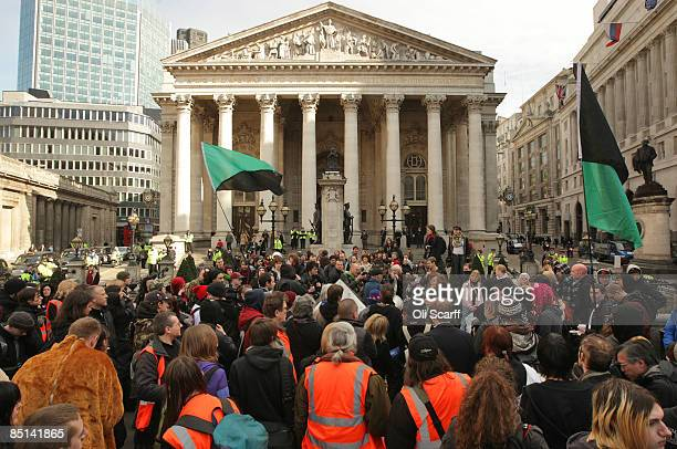 Protesters for 'Stop Huntingdon Animal Cruelty' gather in front of the Bank of England on February 27 2009 in London The antivivisection...