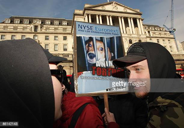 Protesters for 'Stop Huntingdon Animal Cruelty' gather in front of the Bank of England on February 27 2009 in London The Anti vivisection...