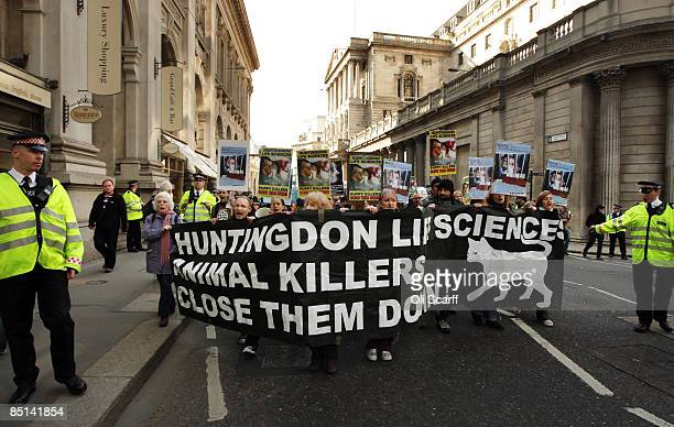 Protesters for 'Stop Huntingdon Animal Cruelty' march past the Bank of Engalnd on February 27 2009 in London The antivivisection demonstration was...