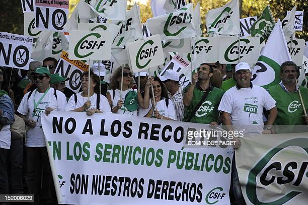 Protesters from across Spain rally against government austerity measures aimed at slashing the public deficit and avoiding the need for a financial...