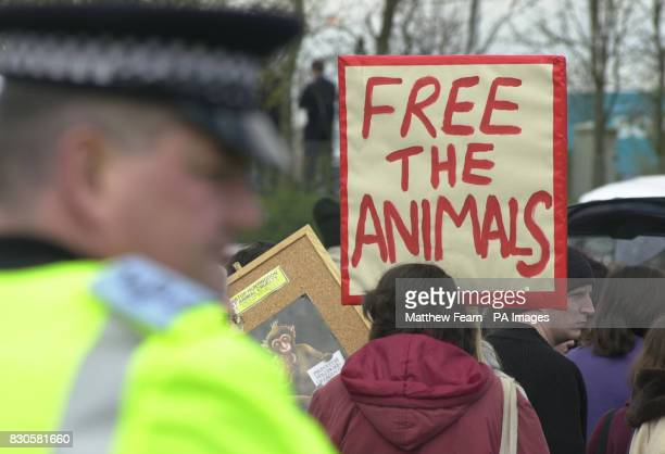 Protesters from SHAC gather for a rally against Huntingdon Life Sciences along with a heavy police presence at South Mimms service station on the M25...