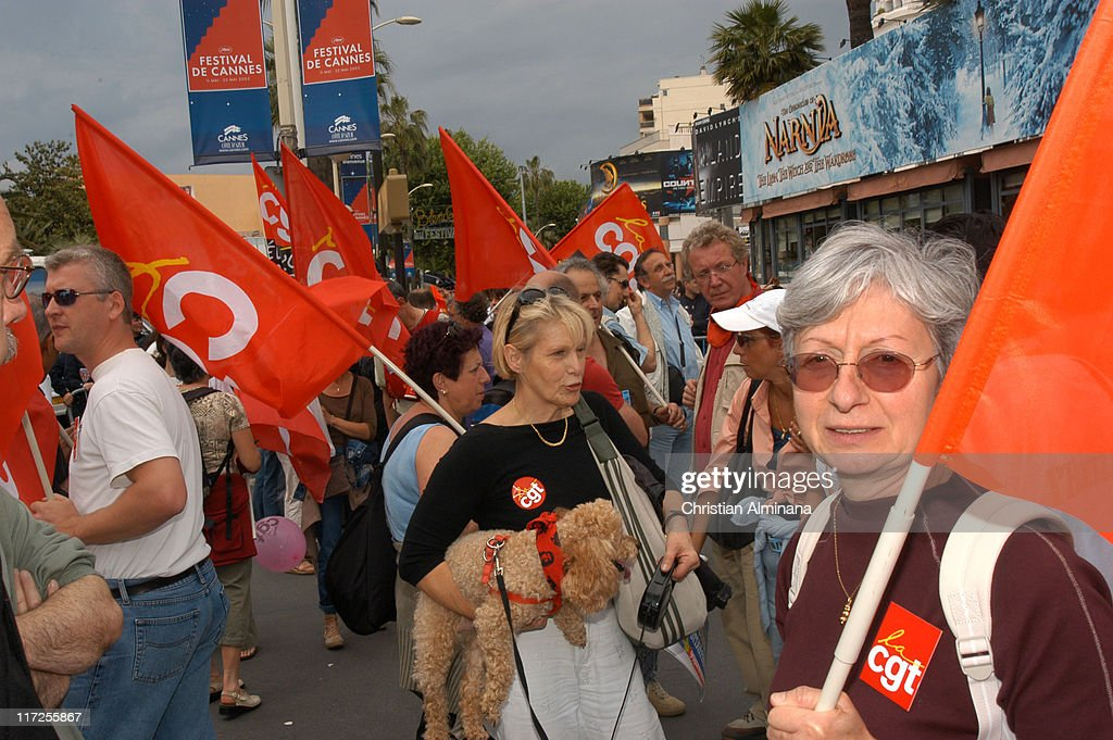 Protesters from the CGT union demonstrate the abandonment of Pentecost day in Cannes France on May 16 2005