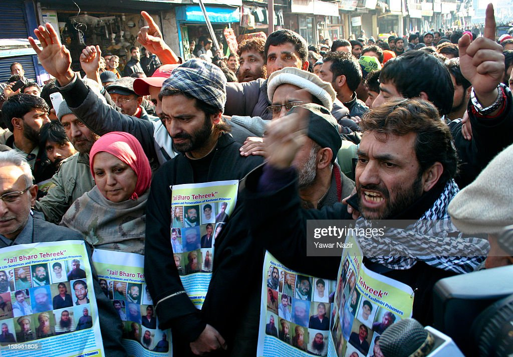 Protesters from the Jammu and Kashmir Libration Front (JKLF), a separatist party fighting politically from Indian and Pakistan for complete Independence of Kashmir, demonstrate on January 04, 2013 in Srinagar, the summer capital of Indian-administered Kashmir, India. JKLF chairman Yasin Malik along with activists and supporters were detained after the group kick-started its 10-day 'jail bharo' to protest against awarding death and life sentences to Kashmiri prisoners by various Indian courts.
