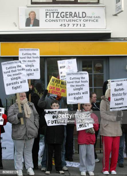 Protesters from the Lone Parents Campaign picket Minister for Children Frances Fitzgerald's constituency office in Dublin claiming cuts in the One...