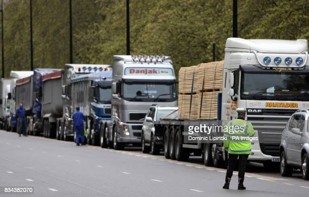 Protesters from the TransAction 2007 protest group drive trucks up Park Lane London as part of a protest against recordhigh diesel prices