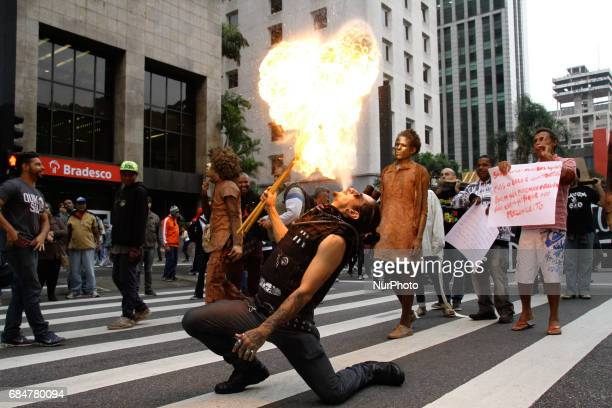 Protesters from various social movements are doing the National Day of AntiManicomial Struggle at Masp on Avenida Paulista in São Paulo Brazil on May...