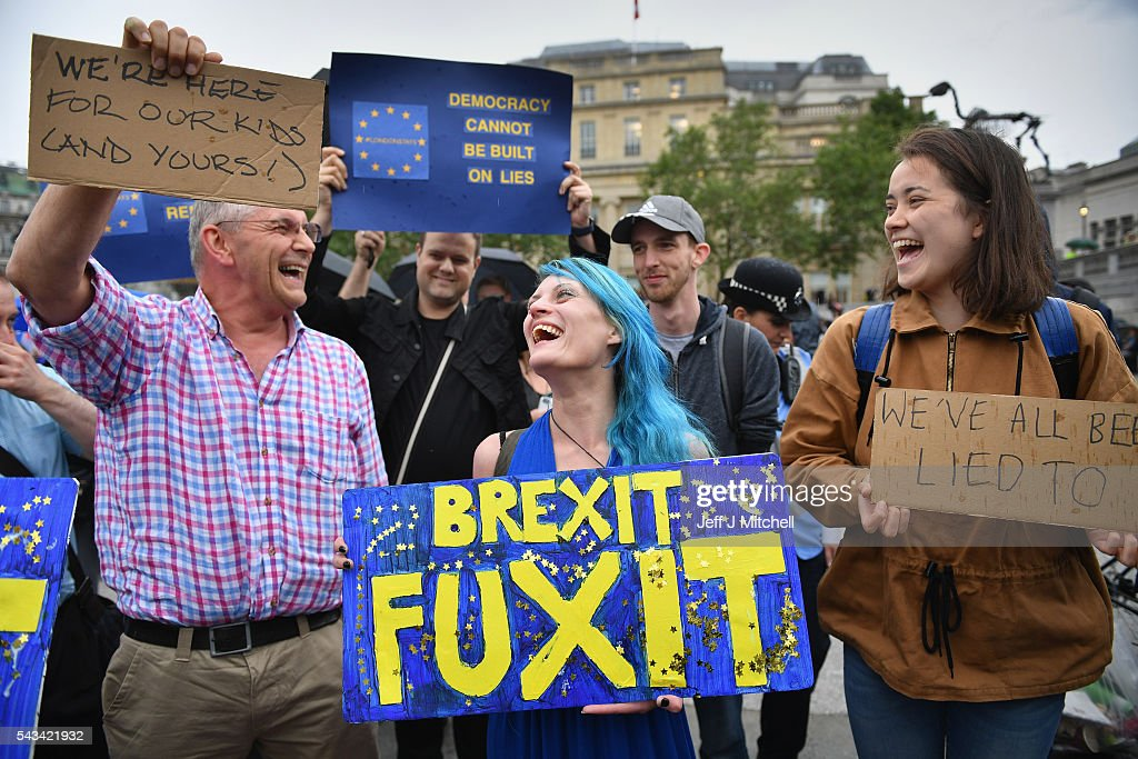 Protesters gather against the EU referendum result in Trafalgar Square on June 28, 2016 in London, England. Up to 50,000 people were expected before the event was cancelled due to safety concerns. Early evening up to 300 people have still convereged on the square to vent their anti-Brexit feelings.