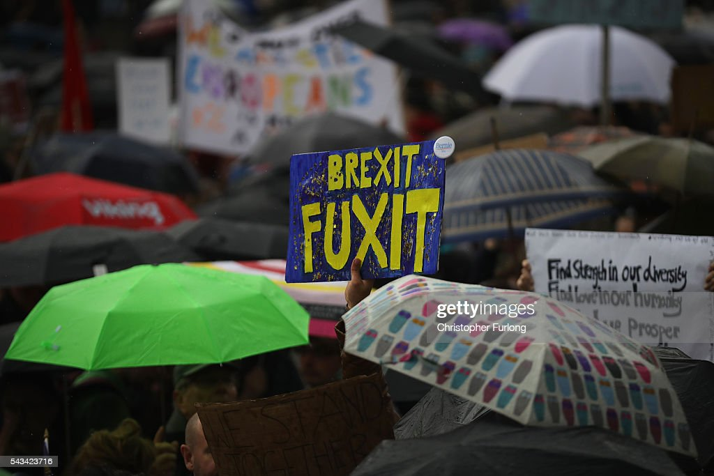 Protesters gather against the EU referendum result in Trafalgar Square on June 28, 2016 in London, England. Up to 50,000 people were expected before the event was cancelled due to safety concerns. Early evening up to 2000 people have still convereged on the square to vent their anti-Brexit feelings.