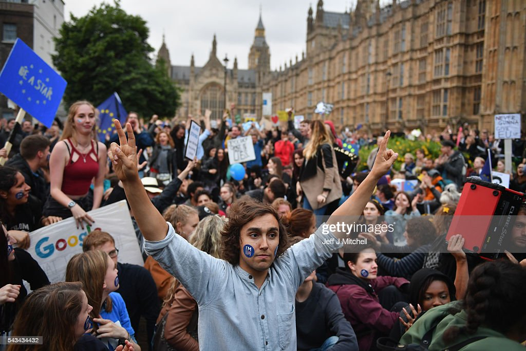 Protesters gather against the EU referendum result in Trafalgar Square on June 28, 2016 in London, England. Up to 50,000 people were expected before the event was cancelled due to safety concerns. Early evening up to 300 people have still converged on the square to vent their anti-Brexit feelings.