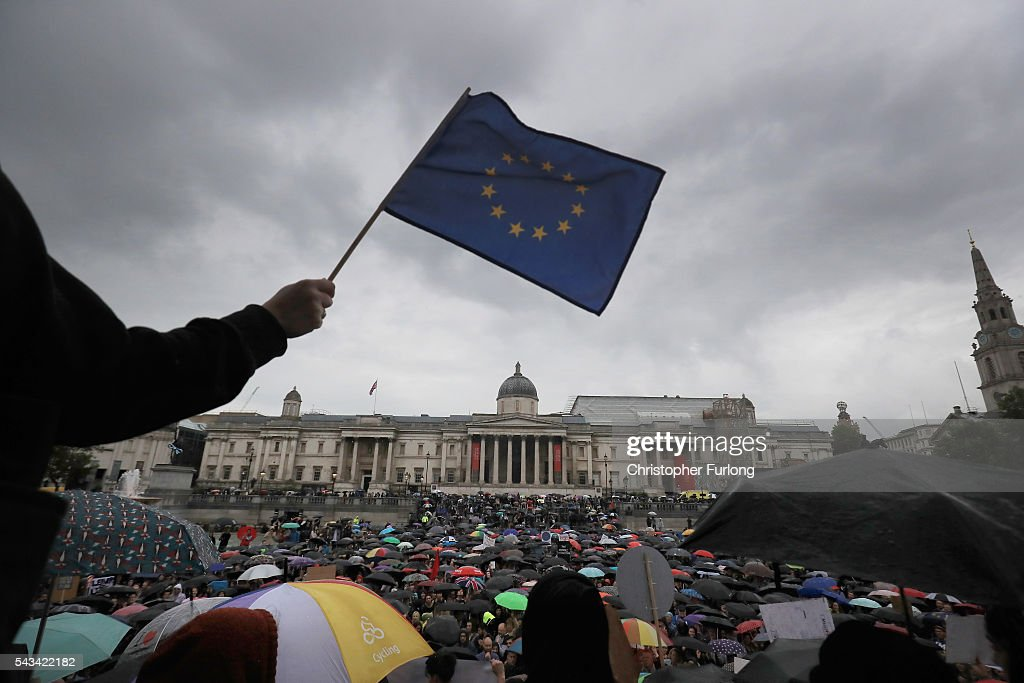 Protesters gather against the EU referendum result in Trafalgar Squre on June 28, 2016 in London, England. Up to 50,000 people were expected before the event was cancelled due to safety concerns. Early evening up to 2000 people have still convereged on the square to vent their anti-Brexit feelings.