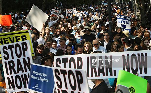 Protesters gather at an antiIran rally outside United Nations headquarters during the 63rd General Assembly which Iranian President Mahmoud...
