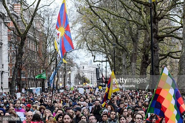 Protesters gather at Millbank at the end of the London Climate March as part of march events around the globe on the same day on November 29 2015 in...