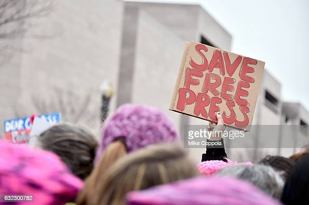 Protesters gather at the Women's March On Washington on January 21 2017 in Washington DC