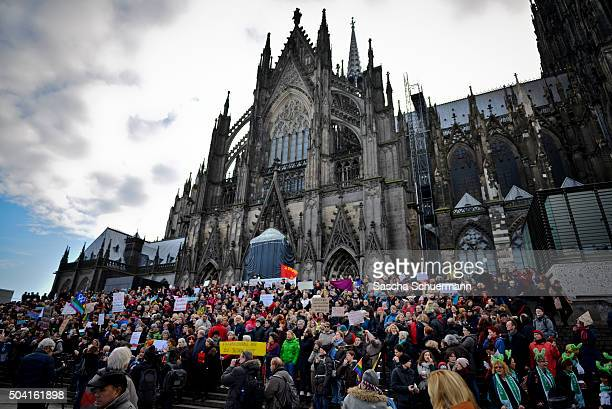Protesters gather in front of Cologne Cathedral next to Hauptbahnhof main railway station to protest against the New Year's Eve sex attacks on...