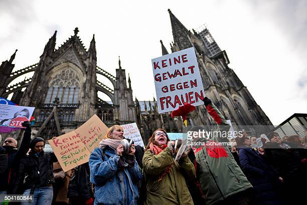 Protesters gather in front of Hauptbahnhof main railway station to protest against the New Year's Eve sex attacks on January 9 2016 in Cologne...