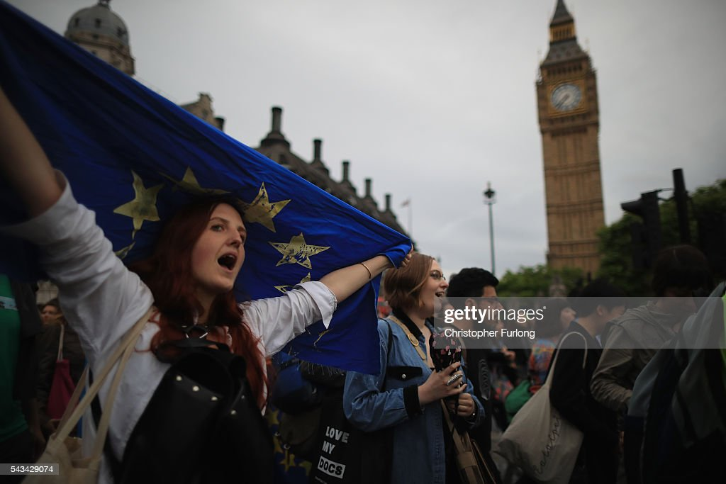 Protesters gather in front of the Houses of Parliament as they demonstrate against the EU referendum result on June 28, 2016 in London, England. Up to 50,000 people were expected before the event was cancelled due to safety concerns. Early evening up to 2000 people have still converged on the square and then marched to Parliament to vent their anti-Brexit feelings.