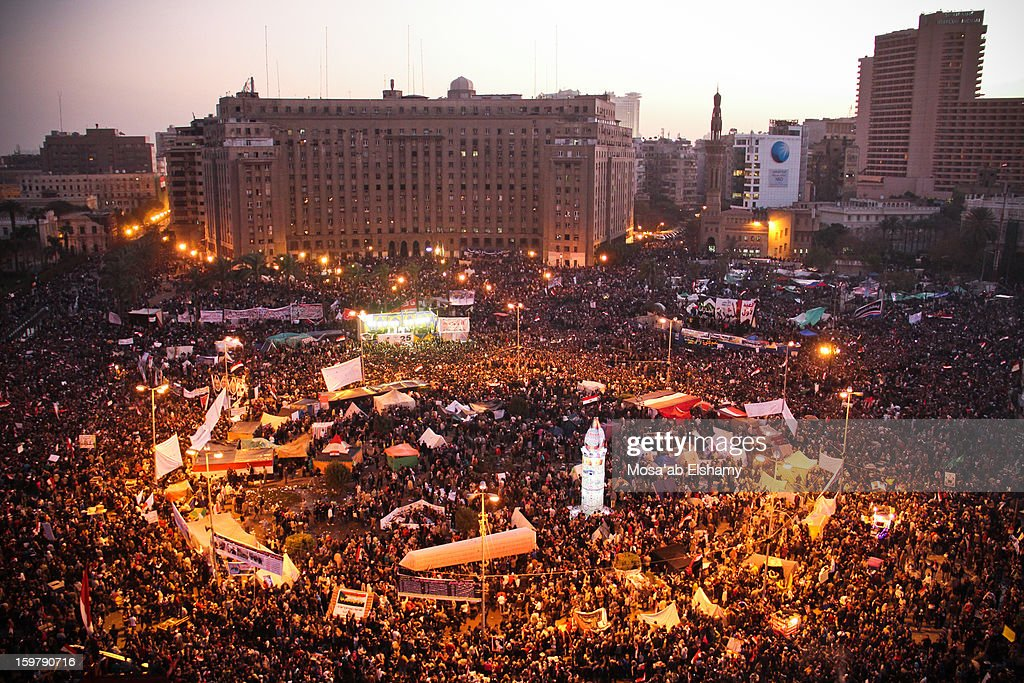 CONTENT] Protesters gather in Tahrir Square to commemorate the first anniversary of the revolution which took place on the 25th of January 2011 and led to toppling of president Hosni Mubarak