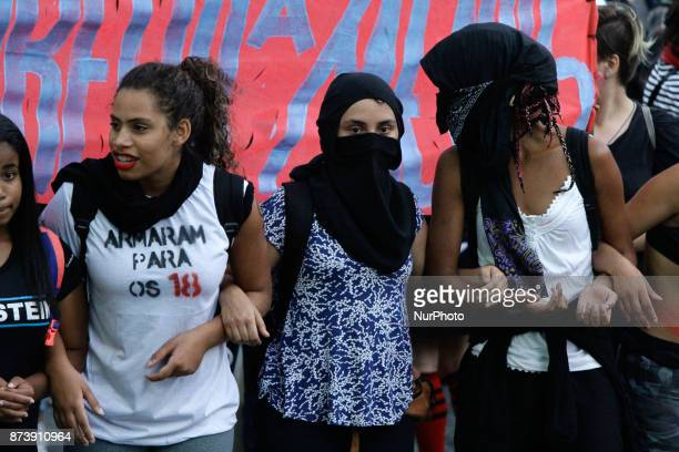 Protesters gather in the open space of Masp on Avenida Paulista in Sao Paulo Brazil during a protest against the Proposed Amendment to the...