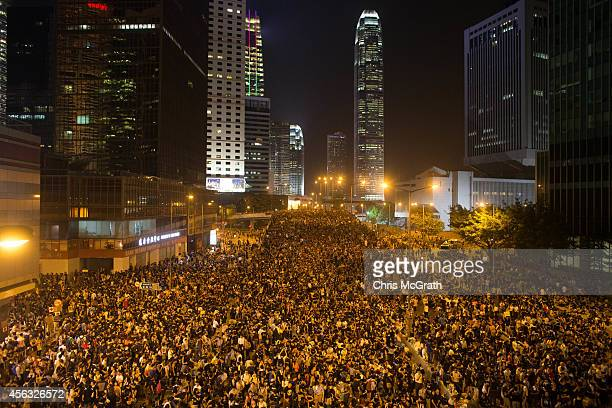Protesters gather in the streets outside the Hong Kong Government Complex on September 29 2014 in Hong Kong Hong Kong Thousands of pro democracy...