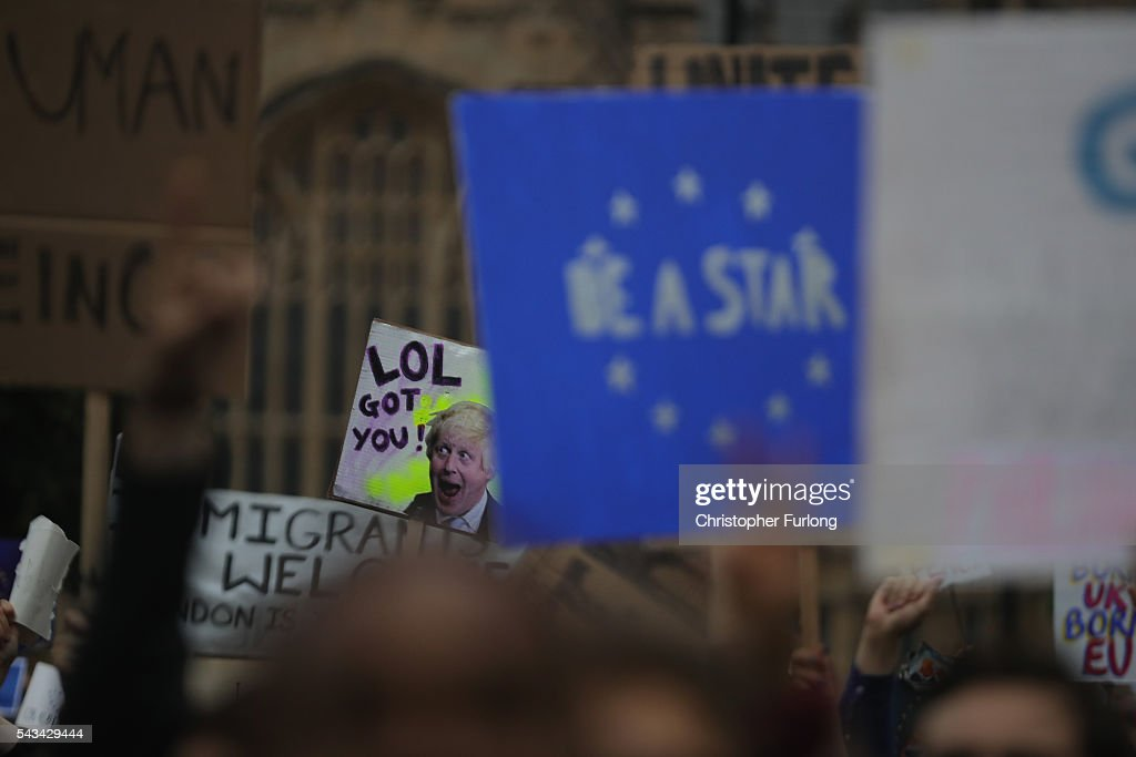 Protesters gather on College Green in front of the Houses of Parliament as they demonstrate against the EU referendum result on June 28, 2016 in London, England. Up to 50,000 people were expected before the event was cancelled due to safety concerns. Early evening up to 2000 people have still converged on the square and then marched to Parliament to vent their anti-Brexit feelings.