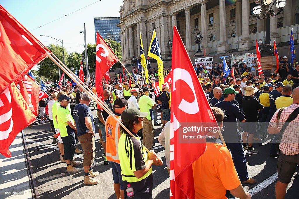 Protesters gather on the steps of State Parliament during a union organised protest against temporary worker (457) visas on March 7, 2013 in Melbourne, Australia. As Australia heads towards a Federal Election in September the row over 457 Visas is escalating, with Prime Minister Gillard vowing to tighten the guidelines, which has led Greens leader Christine Milne to accuse the PM of dog whistling.