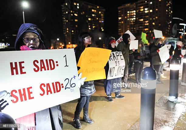 Protesters gather outside Bill Cosby show on January 7 2015 in Kitchener Canada