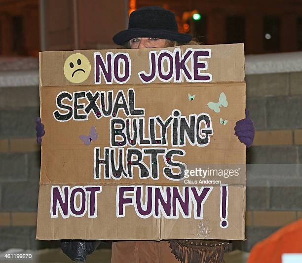 Protesters gather outside Bill Cosby's show at Budweiser Gardens on January 8 2015 in London Ontario Canada Cosby has been accused of sexual assault...